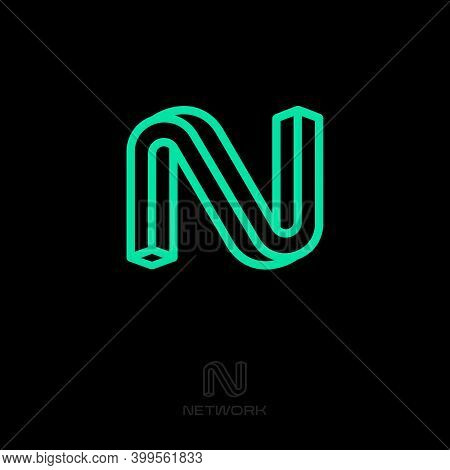 N Impossible Letter. N Monogram Consist Of Thin Lines. Web, Ui Icon. Logo Can Used Business, Network