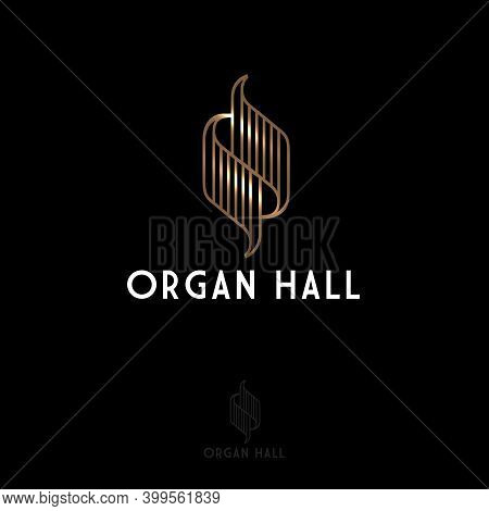 Organ Hall Logo. Gold Abstract Symbol And Letters. Music Emblem. Logo Can Be Used For Music Festival