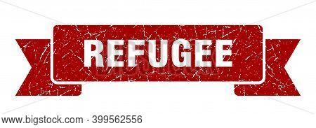 Refugee Ribbon. Refugee Grunge Band Sign. Refugee Banner