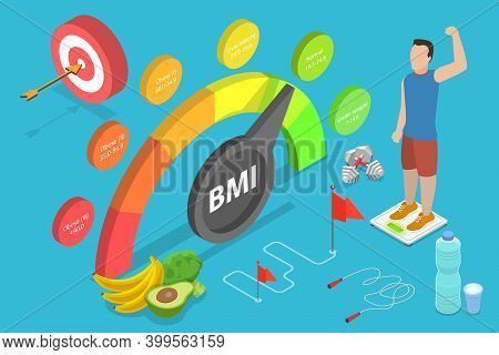 3d Isometric Flat Vector Conceptual Illustration Of Bmi - Body Mass Index.