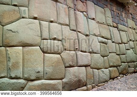 Amazing Stonework Of The Inca Wall On Hatun Rumiyoc Street, The Ancient Street In Historic Centre Of