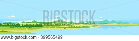 Big Panorama Of Green Mountains With Spruce Forest Around Mountain Lake In Valley, Summer Countrysid