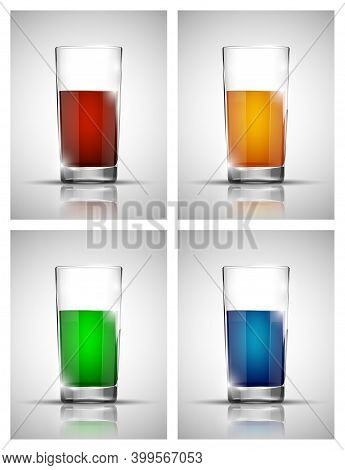 Glass With Cold Drink. Bright Soda. A Glass Of Lemonade. Cold Iced Tea. Bar With A Glass Of Cocktail