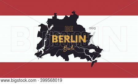 6 Of 16 States Of Germany With A Name, Capital And Detailed Vector Berlin Map For Printing Posters,