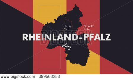 11 Of 16 States Of Germany With A Name, Capital And Detailed Vector Rheinland-pfalz Map For Printing