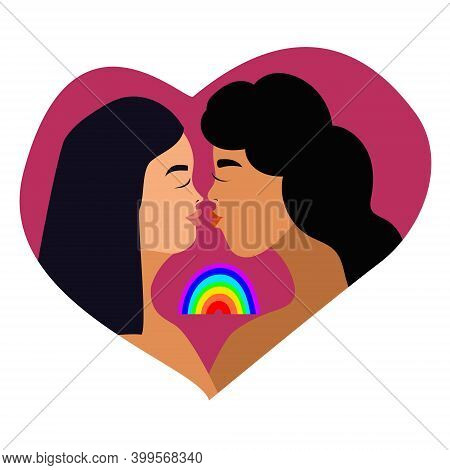 Vector Illustration Lesbian Couple. Cartoon Character Woman Lesbian. Love Card Lesbian, Wife And Wif
