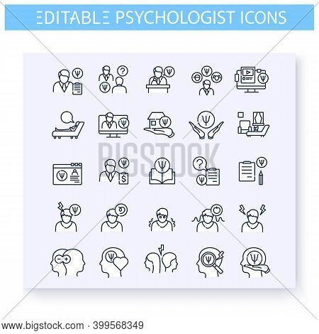 Psychologist Line Icons Set. Psychological Help. Emotional, Cognitive Or Behavioural Disorder. Psych