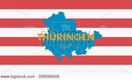 14 Of 16 States Of Germany With A Name, Capital And Detailed Vector Thüringen Map For Printing Poste