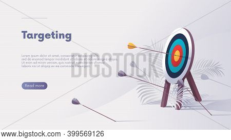 Business Concept Of Strategy And Correct Targeting, Successful Way Up To Goal, Vector Advertising Ba