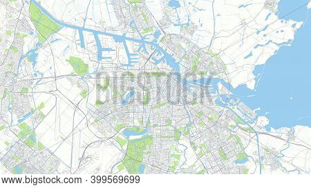 Сity Map Amsterdam, Color Detailed Urban Road Plan, Vector Illustration