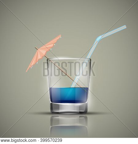 Glass Cold Drink Alcohol  Straw. Bright Soda  Umbrella. A Glass Of Lemonade Or Fruit Juice With Umbr