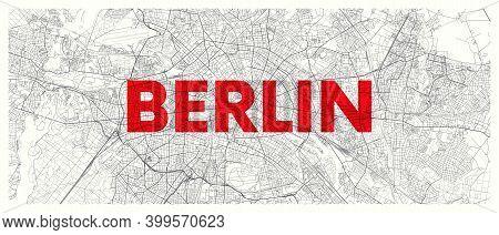 City Map Berlin, Detailed Road Plan Widescreen Vector Poster