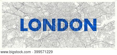 City Map London, Detailed Road Plan Widescreen Vector Poster