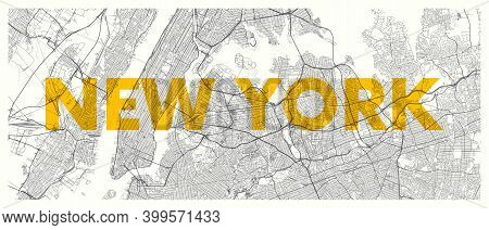 City Map New York, Detailed Road Plan Widescreen Vector Poster