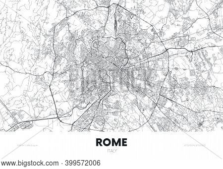 City Map Rome Italy, Travel Poster Detailed Urban Street Plan, Vector Illustration