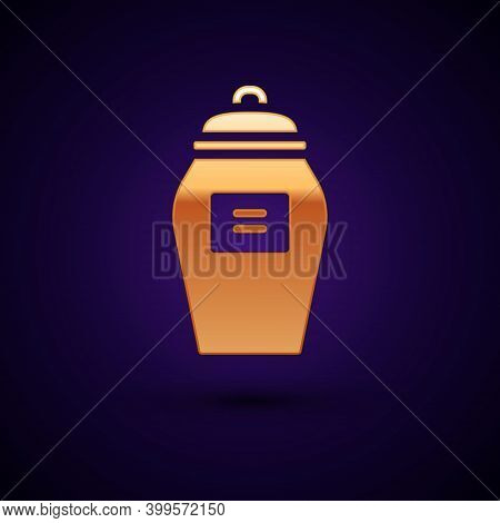 Gold Funeral Urn Icon Isolated On Black Background. Cremation And Burial Containers, Columbarium Vas