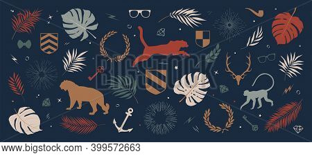 Collection Of Colored Silhouettes Of Panther, Jungle Monkey, Tropical Leaves And Plants, Sun Rays An