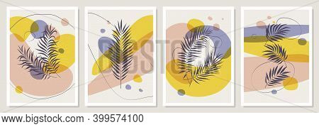 Posters With Geometric Shapes, Tropical Plants And Leaves, Pastel Color Combinations With Sunbeams,