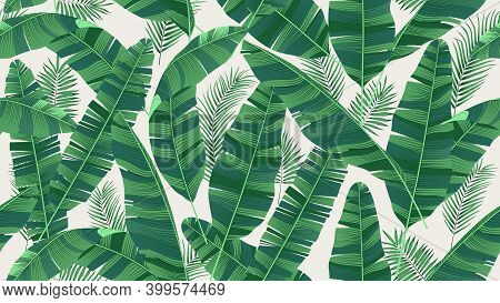 Seamless Pattern With Bright Green Leaves Of Banana Palm And Tropical Plants On A Light Background,