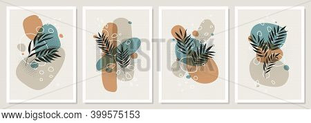 Set Collages Of Tropical Leaves And Colored Geometric Shapes, Abstract Pastel Scandinavian Art Desig