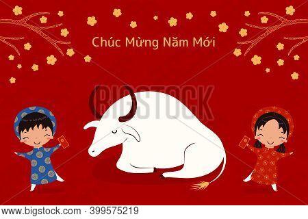2021 Vietnamese New Year Tet Illustration, Buffalo, Cute Kids In Ao Dai, Red Envelope, Apricot Flowe