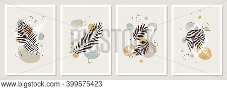 Set Of Pastel Compositions Of Tropical Leaves, Liquid Abstract Shapes And Geometric Figures, Trendy