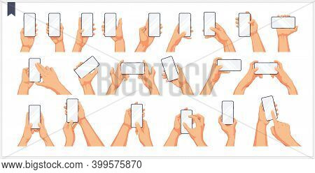 Set Of Realistic Human Hands, Gestures And Movement With The Phone, Isolated Vector Illustrations On