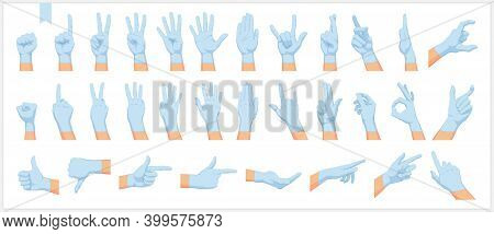 Set Of Realistic Human Hands, Signs And Gestures, In Protective Blue Gloves Isolated Vector Illustra