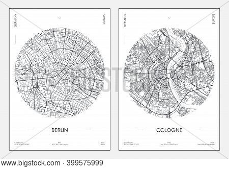 Travel Poster, Urban Street Plan City Map Berlin And Cologne, Vector Illustration
