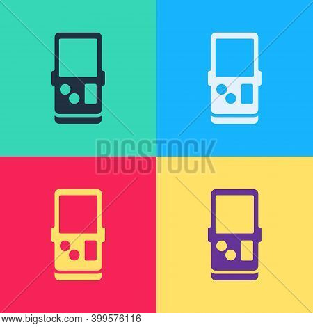 Pop Art Portable Tetris Electronic Game Icon Isolated On Color Background. Vintage Style Pocket Bric