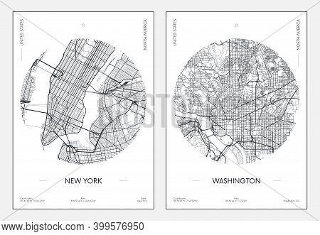 Travel Poster, Urban Street Plan City Map New York And Washington, Vector Illustration