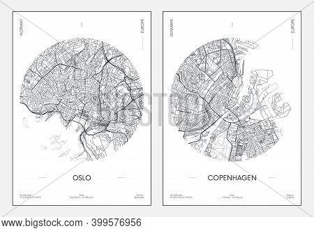 Travel Poster, Urban Street Plan City Map Oslo And Copenhagen, Vector Illustration