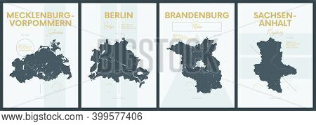 Vector Posters With Highly Detailed Silhouettes Maps States Of Germany - Mecklenburg-vorpommern, Ber