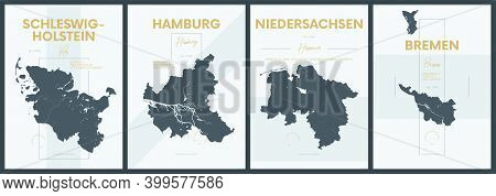 Vector Posters With Highly Detailed Silhouettes Maps States Of Germany - Schleswig-holstein, Hamburg