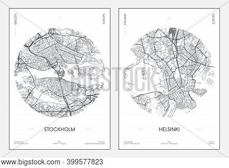 Travel Poster, Urban Street Plan City Map Stockholm And Helsinki, Vector Illustration