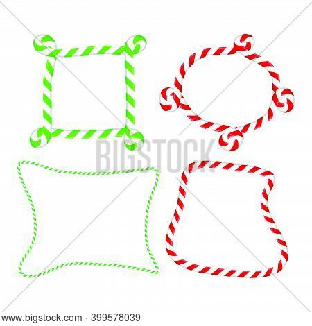 Candy Cane Frame Collection. Striped Christmas Border Set. Seasonal Decoration Element. Holiday Vect