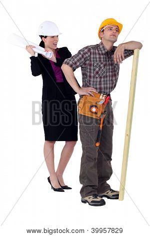 Engineer hitting a foreman
