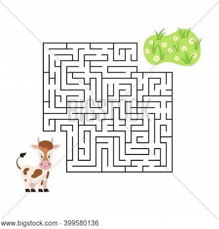Maze Game Cow Find Grass In Labyrinth Isolated On White Background. Cartoon Worksheet With Animal Fo