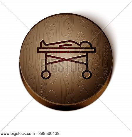 Brown Line Dead Body In The Morgue Icon Isolated On White Background. Wooden Circle Button. Vector