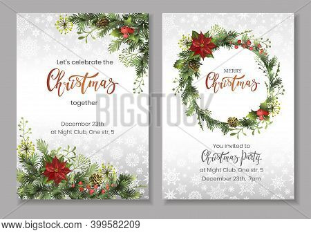 Christmas Flyers Or Party Invitation Template With Pine Tree Branches And Cones, Holly Berries, Poin