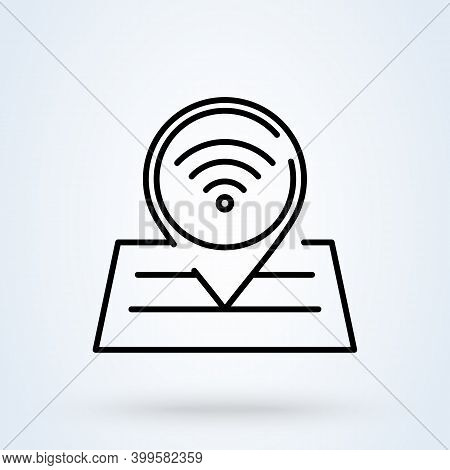 Wifi, Wireless Location Sign Line Icon Or Logo. Map Pin Point Concept. Free Wifi Internet Location L