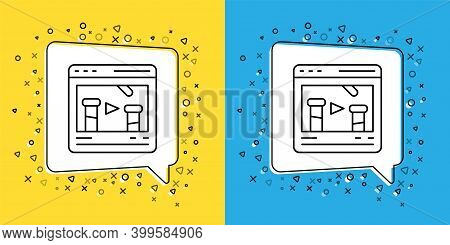 Set Line Chemical Experiment Online Icon Isolated On Yellow And Blue Background. Scientific Experime