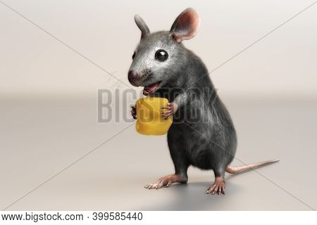 3D Illustration Of A House Mouse Mus Musculus