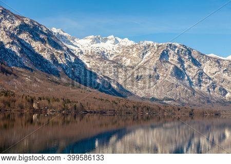 Mountain Lake With Reflection. Lake Bohinj, Slovenia