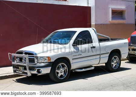 Tulum, Mexico - May 17, 2017: Pickup Truck Dodge Ram 1500 In The City Street.