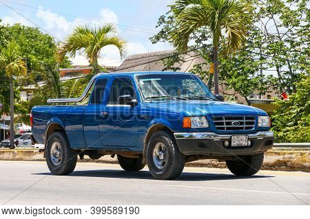 Tulum, Mexico - May 17, 2017: Pickup Truck Ford Ranger In The City Street.