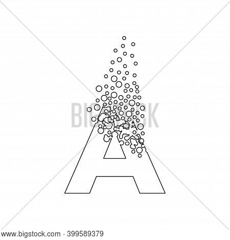 Letter A Dispersing Into A Cloud Of Bubbles. Thin Line Icon.