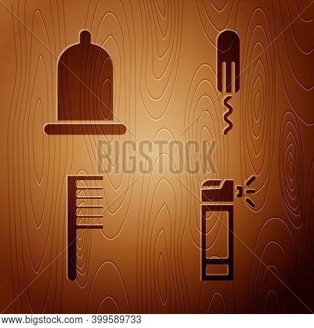 Set Bottle With Nozzle Spray, Condom, Hairbrush And Sanitary Tampon On Wooden Background. Vector