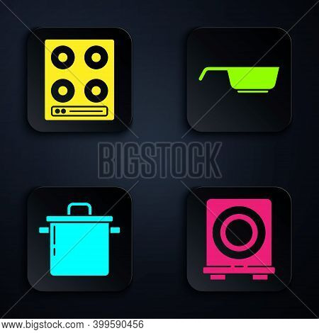Set Electric Stove, Gas Stove, Cooking Pot And Frying Pan. Black Square Button. Vector