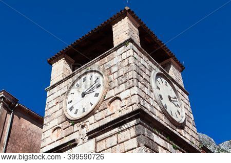 Bell Tower With Horology . Medieval Clock Tower